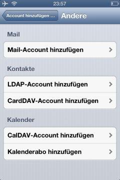 iOS Auswahl der DAV-Protokolle zur Synchronisation