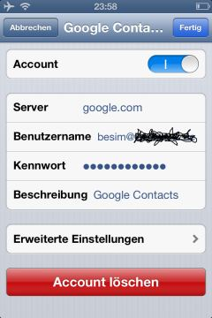 iOS Einrichtung CardDAV