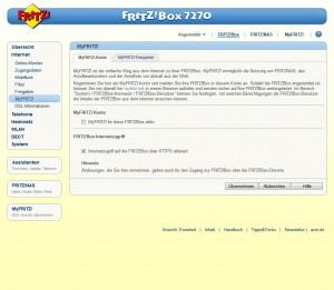 MyFRITZ-Bedienoberfläche auf der Fritzbox 7270