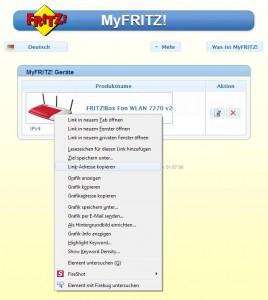 Geräteübersicht bei MyFRITZ