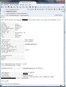 Unverschlüsselte Bestätigungsmail von SPD.de mit sensiblen Kontaktdaten
